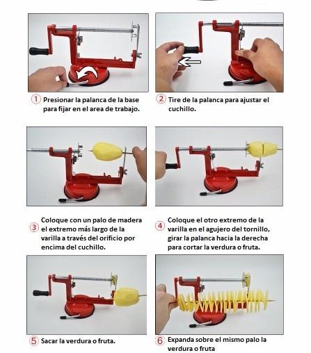 M quina manual de corte espiral para vegetales y frutas for Equipo manual de cocina