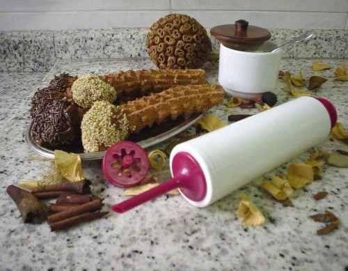 máquina manual de fazer churros e mini churros modelador