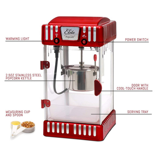 máquina palomitas de maíz crsipetas  maxi-matic epm-250, roj