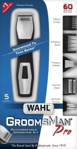 maquina patillera rasuradora recargable wahl groomsman pro