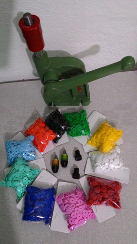 maquina pregar botao + matriz + 500 botoes n. 10 - 10 cores