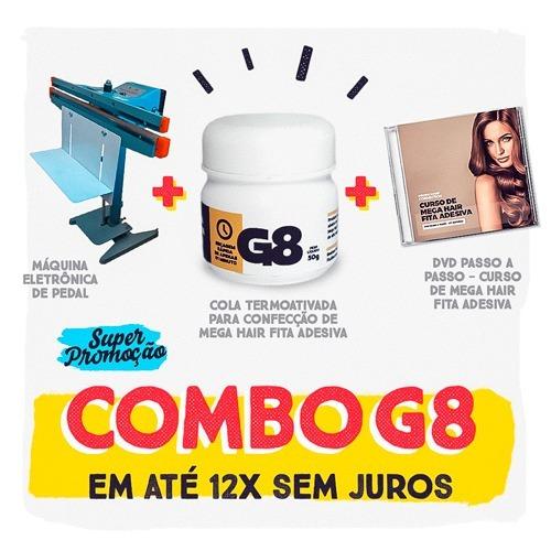 maquina prensa+cola g8+dvd curso mega hair fita adesiva