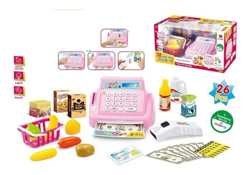 maquina registradora mini mercado c/ acessorios 26 pçs rosa