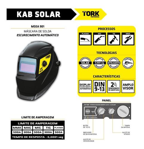 maquina solda inversora 180a 220v aut kab180 tork + mascara