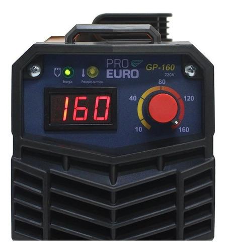 máquina solda inversora gp-160a 220 volts pró-euro- eletrodo