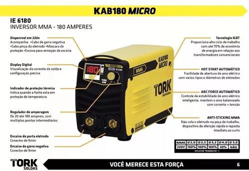 maquina solda inversora  supertork kab 180a + mascara solda