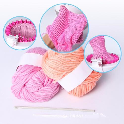 máquina tejedora de estambre crea bufandas, gorros y más