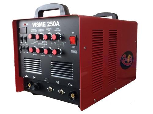 máquina tig ac/dc wsme-250a pulsada alumínio inox magnésio