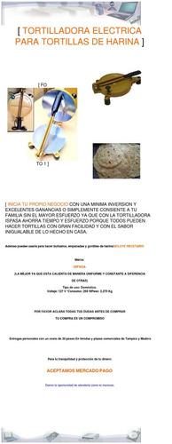 maquina tortillera electrica para tortillas de harina