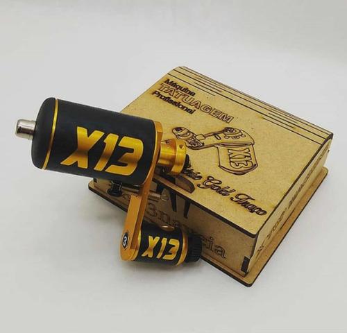 maquina x13 gold rotativa tattoo + cabo rca + pedal + brinde