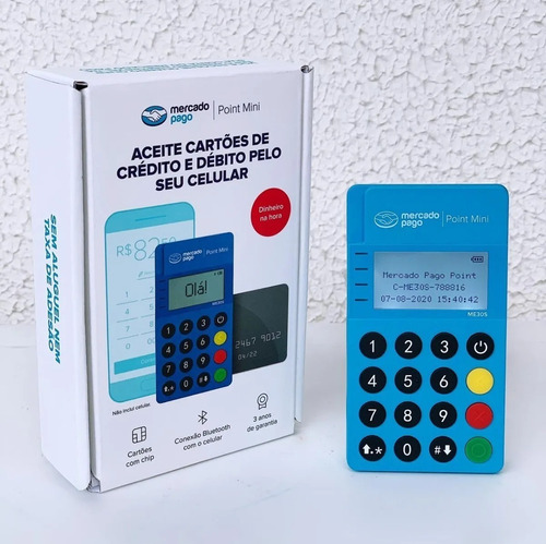 maquineta de cartão point mini - edição visor luminoso led