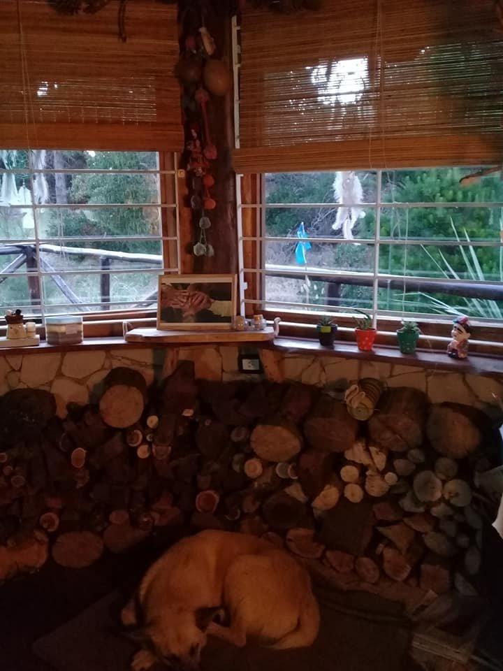 mar azul - retasada !!! confortable cabaña de tres ambientes construida  en piedra y madera con buen entorno arbolado.