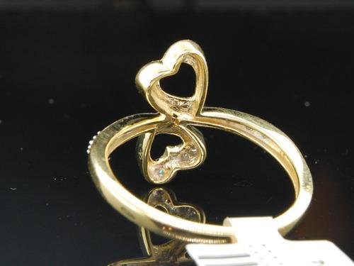 maravilhoso anel coração em ouro amarelo 18k!e brilhantes.
