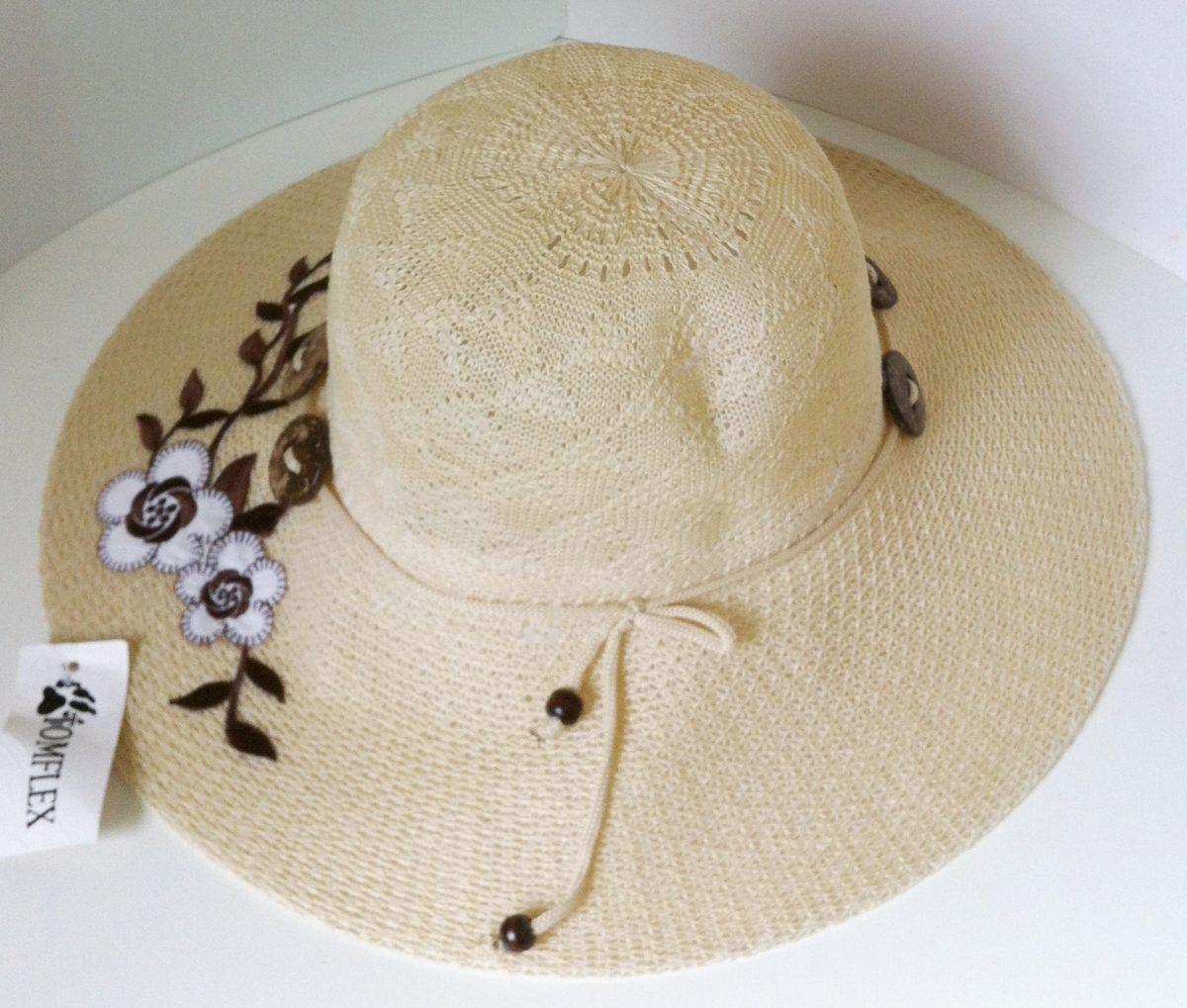 86237158d791c maravilhoso chapéu de praia verão poliester bege flores. Carregando zoom.
