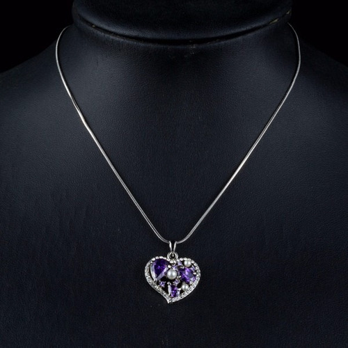 maravilloso collar dije corazon purpura cristales swarovski