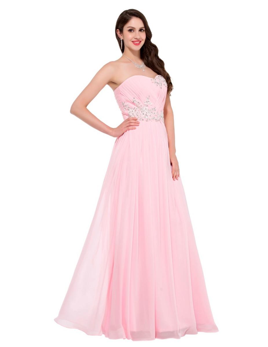 Maravilloso Vestido De Fiesta Noche Graduación Rosa Mediano ...