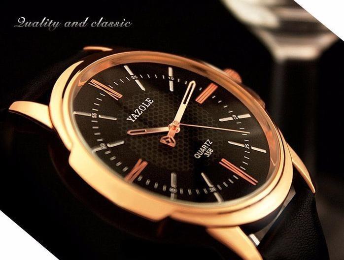 c0a3bb13395 Relógio Original Marca Yazole Couro Masculino Quartz Barato - R  44 ...