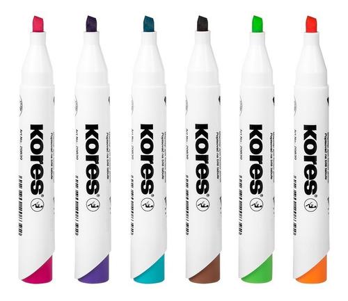 marcador borrable punta bisel  6 colores