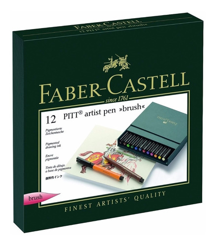 marcador brush ponta pincel faber castell pitt gift box 12