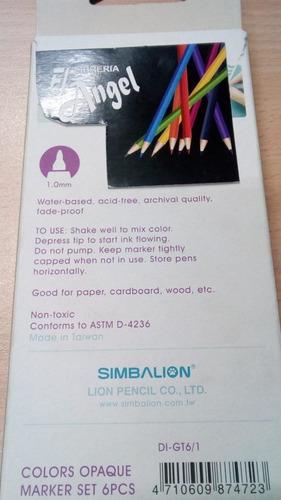 marcador glitter market set simbalion x 6