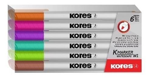 marcador para tablero delgado x 6 colores fancy