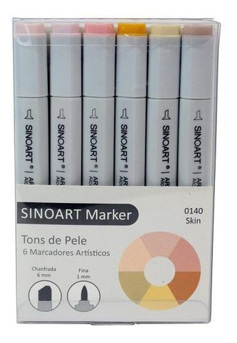 marcador profissinal tons de pele canetinha sinoart