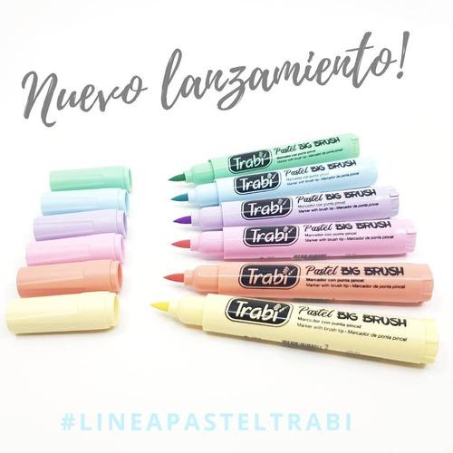 marcador punta pincel trabi big brush x 6 colores pastel