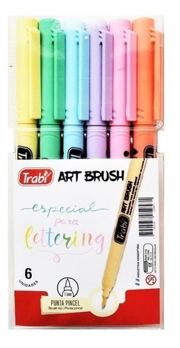 marcador trabi art brush pastel x 6 colores ideal lettering