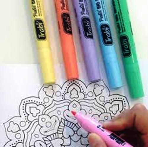 marcador trabi big brush x6 colores pastel punta pincel