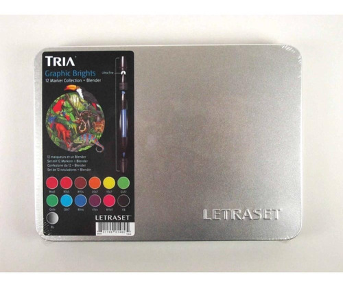 marcador tria 12 cores graphic brights