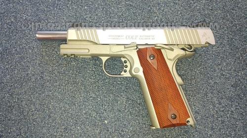 marcadora airsoft colt rail gun 1911 acabadoacero inoxidable