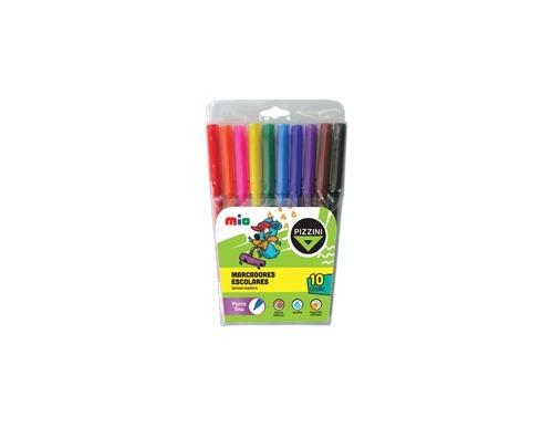 marcadores de colores escolares pizzini x 10 fino - 8010