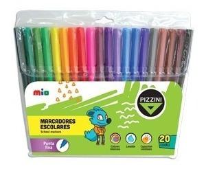 marcadores de colores escolares pizzini x20 colores finos