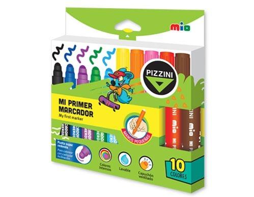 marcadores de colores super redondos pizzini x10 - 8610
