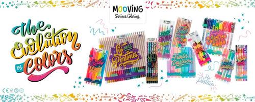 marcadores de colores x10 mooving coloring 100% color