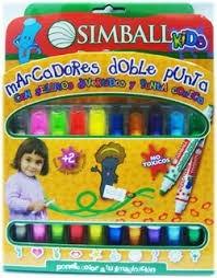 marcadores doble punta simball kid x 6