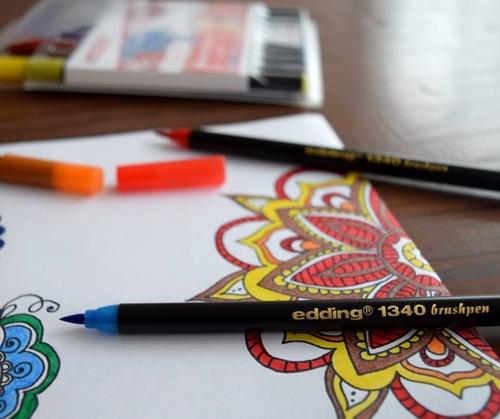 marcadores edding 1340 punta pincel p/ mandalas, arteterapia