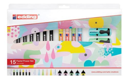 marcadores edding set colores pastel power x15 surtidos