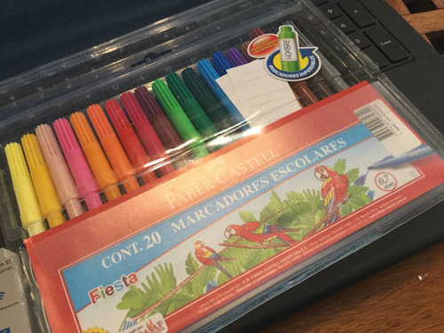 marcadores escolares x 20 faber castell -fiesta- sticker adh