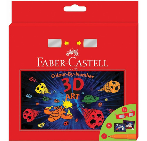 marcadores faber castell colour-by-number 3d x 6