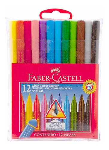 marcadores faber castell x10 largos con grip
