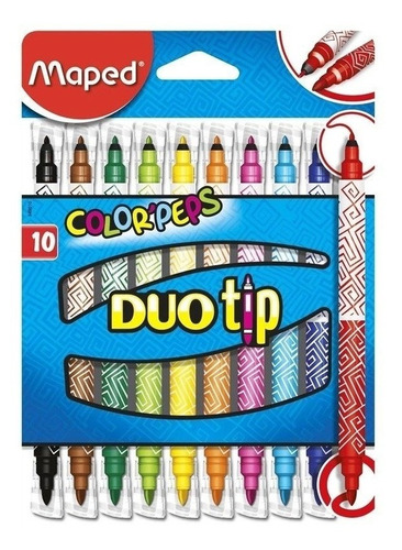 marcadores fibras maped duo tip doble punta  x10 colores edu