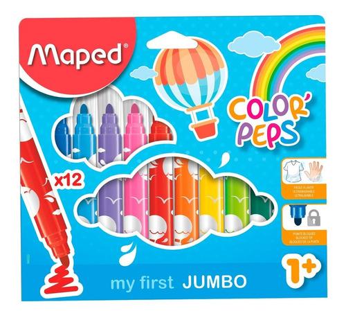 marcadores maped color peps jumbo x 12 colores educando