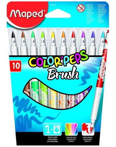 marcadores maped colorpeps brush x10