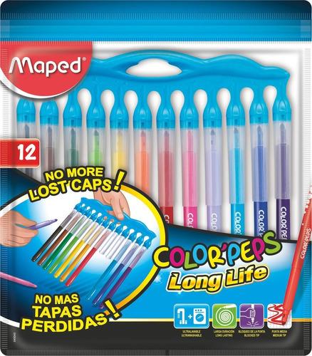 marcadores maped colorpeps long life innovation x12 educando
