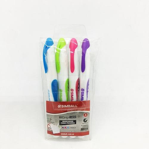 marcadores para pizarra blanca x 4 colores fancy simball