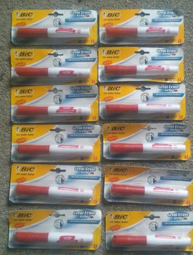 marcadores para pizarron blanco,nuevos, bic, 12 pzas en rojo