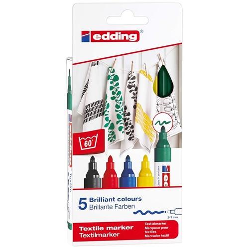 marcadores para tela edding 4500 x 5 colores surtidos
