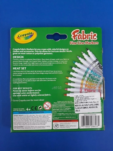 marcadores para tela fabric makers crayola 10 colores