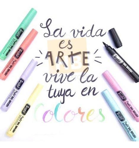 marcadores punta pincel trabi art brush x8 pastel lettering